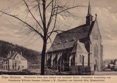 Kirche mit Pfarrhaus um 1910
